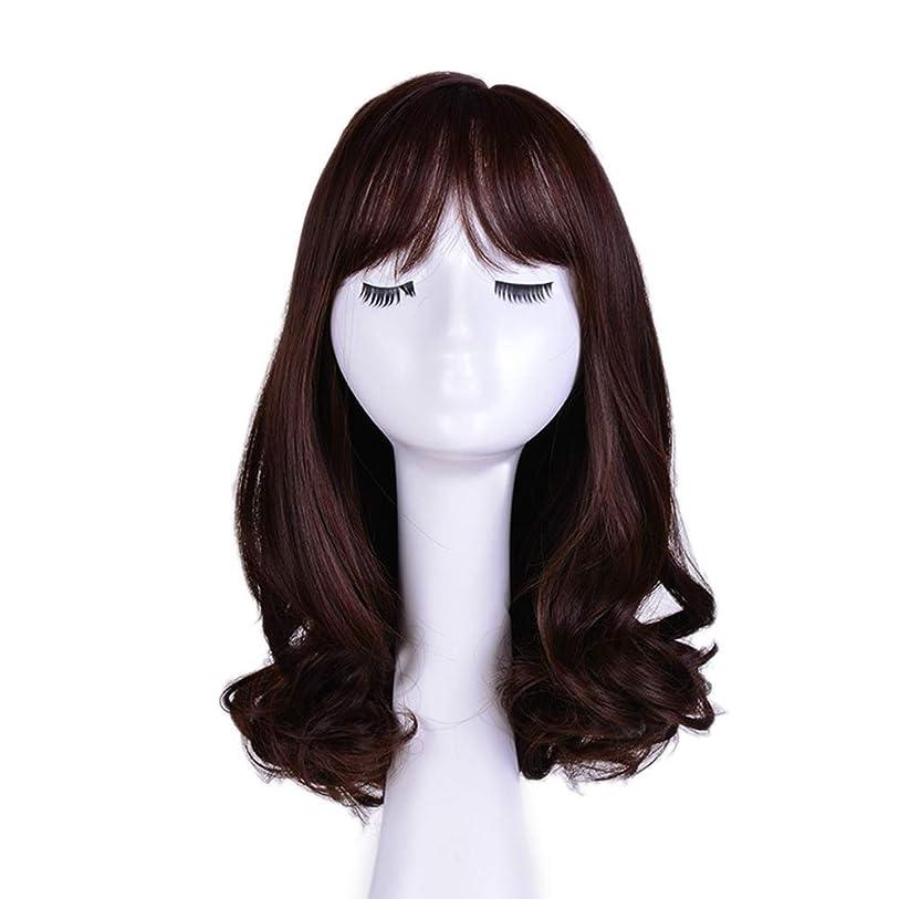 驚かすブレーストレイルYrattary 女性のコスプレパーティーのための茶色のかつらライト前髪自然波ロングカーリーウィッグ (色 : ブラウン)