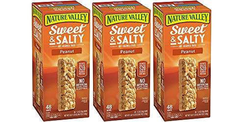 Nature Valley Sweet and Salty Granola Bars Peanut dipped in Peanut Butter Coating, 48 Bars (3 Boxes)