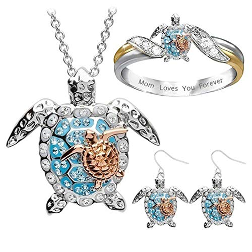 Ring Necklace Earring Set, Mom Loves You Forever Sea Turtle Pendant Necklace Ring Ear Hook Earrings Set - 1