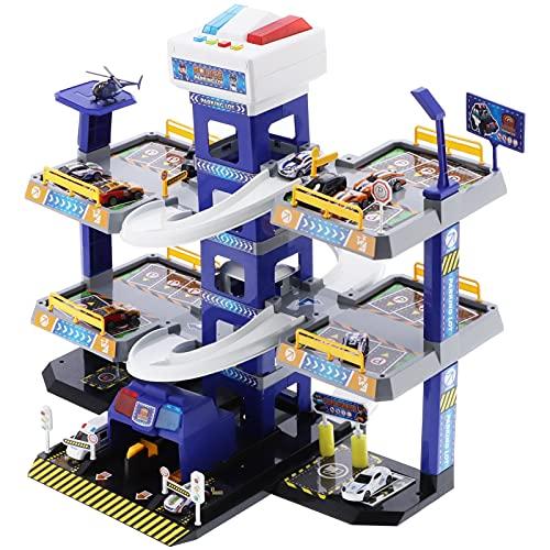 Ejoyous Garaje para Niños, Estacionamiento de Juguetes, Juegos para Garaje de Coche Eléctrico Conectable, Juguetes para Estacionamiento de Garaje Elevador y Pista de Carreras 12 Autos con Sonido y Luz