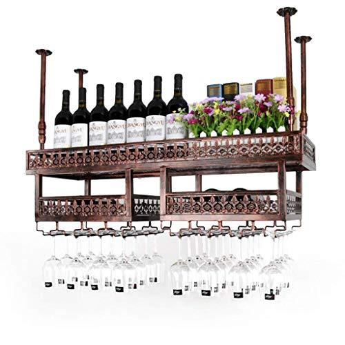 FMYZI Wine Rack, Bar, Restaurant, Wine Glass Rack, Home Red Holder Industrial, Wall Hanging Rack Amp; Amp; Soporte para Botella de Vino, Estante para Vino Americano de 2 Capas,100Cm