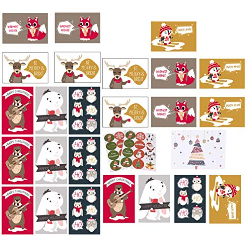 Hemoton Merry Christmas Cards Set Christmas Holiday Winter Greeting Card Festive Element Designs with Envelope and Sealing Sticker Style 1