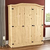 Vida Designs Corona Wardrobe, 3 Door, Solid Pine Wood, Solid Pine Wood, Distressed Waxed Pine Bedroom Wooden Storage Mexican Furniture