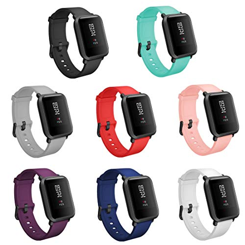 TECKMICO 8PCS Bands Replacement for Amazfit Bip Smartwatch,20mm Quick Release Watch Soft Silicone Bands for Amazfit Bip Band Women Men (8-Pack, Buckle Design)