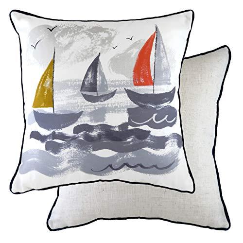 Evans Lichfield Nautical Sailboats Polyester Filled Cushion, Multi, 43 x 43cm