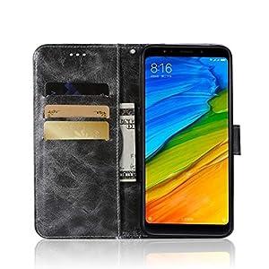 Protectores de Pantalla para Xiaomi Redmi 5 Plus Retro Copper Button Crazy Horse Horizontal Flip PU Funda de Cuero con Soporte y Ranuras para Tarjetas y Filtera (Vino Rojo), Zhongxianshangmaoyouxiang