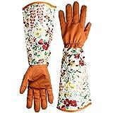 kuou Guantes de jardín de cuero a prueba de espinas, mangas con estampado floral, guantes de jardín, guantes de trabajo de brazo largo para mujer