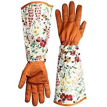 Foto di kuou - Guanti da giardinaggio, in pelle, a prova di spina, con stampa floreale, a braccio lungo, da donna