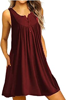 Button Sleeveless Dress, ✔ Hypothesis_X ☎ Solid Midi Dresses for Women Round Neck Casual Dress Loose Party Dress