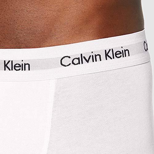 Calvin Klein Men's - 3 Pack Medium Rise Trunks - Cotton Stretch Boxer Shorts, (White/Red Ginger/Pyro Blue I03), X-Small