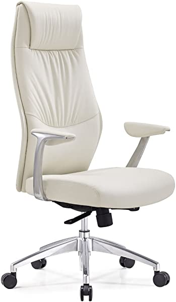 Zuri Furniture Modern Franklin Leather Adjustable Executive Chair With Aluminum Base White