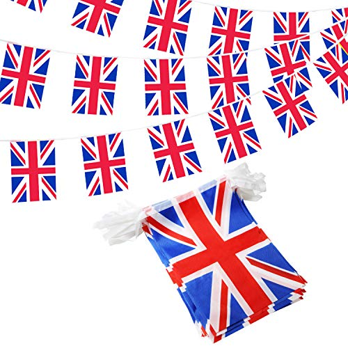 ANLEY United Kingdom String Flag - UK String Pennant Banners Patriotic Events British Union Jack Decoration Sports Bars - 33 Feet 38 Flags
