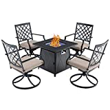 PHI VILLA 28' Gas Fire Pit Table Set, 50000 BTU Auto-Ignition Propane Gas Fire Pit Square Table with 4 Patio Swivel Chairs for Patio, Yard, Deck