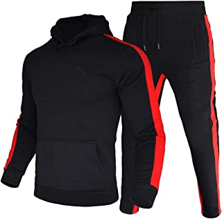 amropi Men's Tracksuit Hoodie Sweatshirt Tops and Long Pants Set Casual Sports Outfits