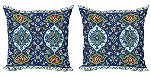 """Ambesonne Moroccan Decorative Throw Pillow Case Pack of 2, Oriental Motif with Vintage Byzantine Style Tile Effects Artwork, Couch Bedroom Living Room Cushion Cover, 20"""", Blue Mustard"""