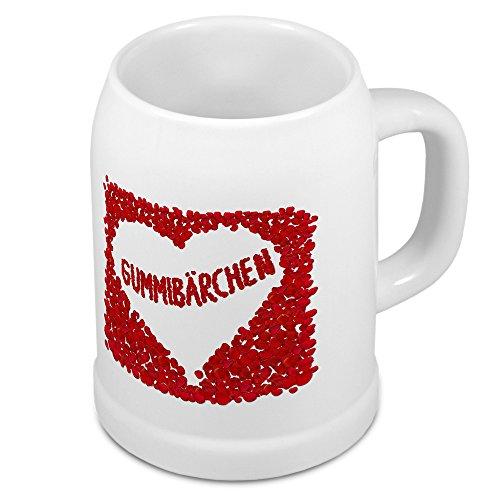 Bierkrug mit Namen Gummibärchen - Motiv Rosenherz - Namenstasse, Becher, Maßkrug, Humpen