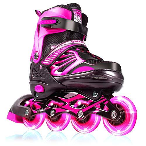 GGOODD Patín en línea,4 Rueda Patines de Ruedas, LED Luz Rueda de Destello Zapatos Skate ,Tamaño Ajustable Zapatos Patines , Accesorios para Equipos de Protección,para Mujeres/Hombres