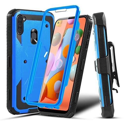 Numy Samsung A11 Case, Galaxy A11 case with Belt Clip Screen Protector Kickstand Heavy Duty Shockproof Rugged Bumper Cover case for Samsung Galaxy A11 for Women Men Girls Boys-Blue