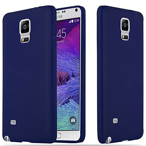 Cadorabo Hülle für Samsung Galaxy Note 4 - Hülle in Candy DUNKEL BLAU – Handyhülle aus TPU Silikon im Candy Design - Silikonhülle Schutzhülle Ultra Slim Soft Back Cover Case Bumper