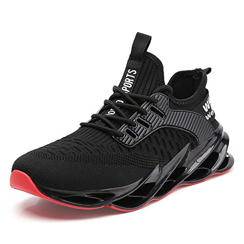 Sport Sneakers for Men Stylish Running Shoes mesh Breathable Comfort Male Athletic Tennis Walking Jogging Trainers Black Size 9.5