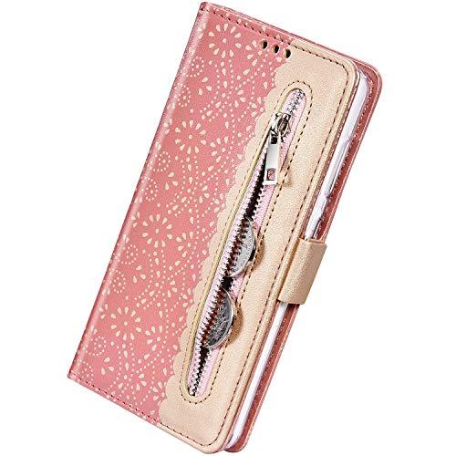 Herbests Kompatibel mit Samsung Galaxy S10 Handy Hülle Multifunktionale Reißverschluss Tasche Blumen Flip Case Brieftasche Schutzhülle Klapphülle Handschlaufe Kartenfach Magnet,Rose Gold