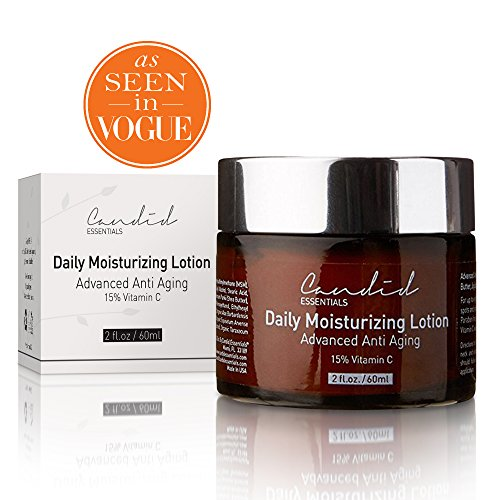 Daily Moisturizer, Organic & Natural Facial Moisturizer for Face, Neck & Décolleté & Hands. Anti Aging Cream with 15% Vitamin C for Collagen, Wrinkles & Hydrate Skin Effectively, by Candid Essentials
