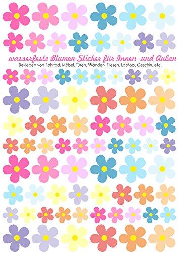 Jabalou Blumen Aufkleber Fahrradsticker zum bekleben vom Fahrrad (Blumen Pastell)