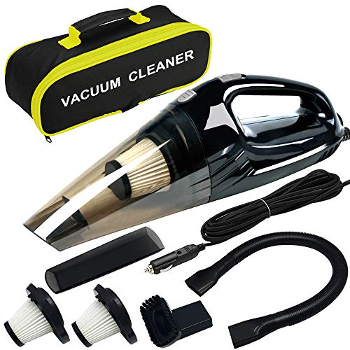 Car Vacuum ANKO DC 12V 120W High Power Portable Handheld Car Vacuum Cleaner Strong Suction Wet amp Dry Use Quick Cleaning with 15ft Power Cord 2 Filters amp Carry Bag Black