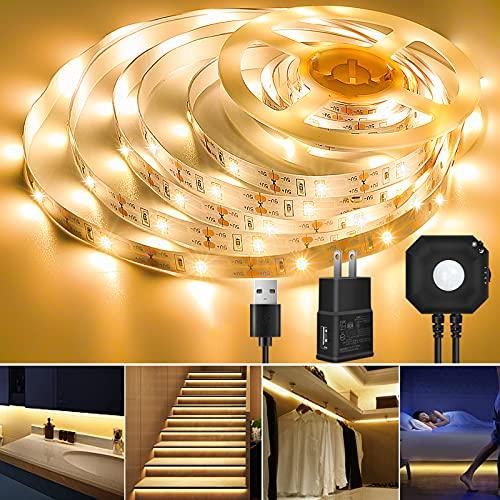 LED Strip Light, Topled 9.84ft Motion Sensor Flexible LED Tape Light (3000K Warm White) Under Bed Cabinet Night Lighting, Brightness Adjustable 2835 LED Rope Light for Home Hallway Bedroom Kitchen