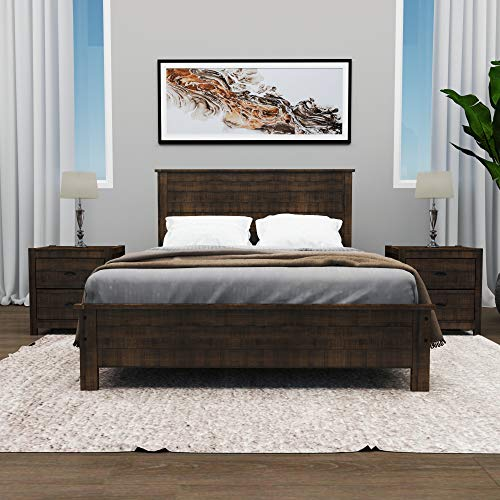 Yes4wood Albany Solid Wood Bed, Queen Size (Rustic Expresso)