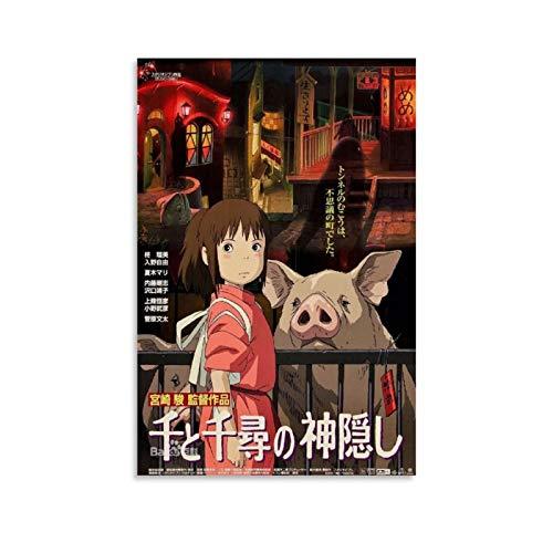 Miyazaki's Spirited Away Filmposter, Leinwand-Kunst-Poster und Wandkunstdruck, modernes Familienschlafzimmerdekor, 30 x 45 cm