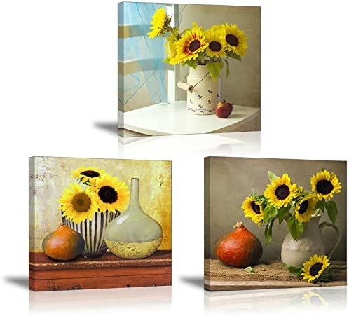 Amazon Com Sunflower Kitchen Wall Decor Sz Hd Still Life Oil Painting Canvas Art Prints Of Bright Blooming Floral Illustration Set 3 Waterproof Artwork 1 Thick Frame Bracket Mounted Ready To Hang
