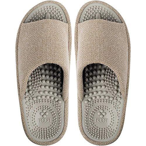 BIKINIV Acupressure Reflexology Massage Slippers with Orthotic for Flat Feet Plantar Fasciitis Arch Support House Sandals, Boost Circulation Improves Health (9-10 Women/8-9 Men,Beige)