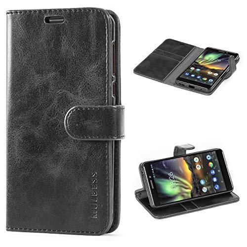 Mulbess Flip Tasche Handyhülle für Nokia 6.1 Hülle Leder, Nokia 6.1 Klapphülle, Nokia 6.1 Handy Hülle, Schutzhülle für Nokia 6.1 Handytasche, Schwarz
