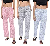 CIERGE Women's Cotton Printed Pyjama/Track Pant Lower (Multicolour; Free Size) Pack of 3