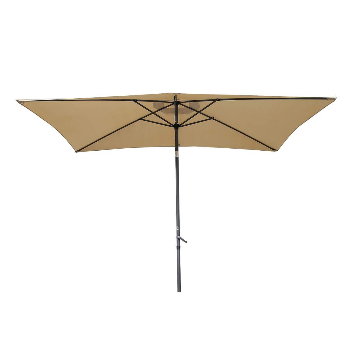 Angel Living 2x3M Sombrilla Parasol de Aluminio y Poliéster, Parasol Inclinado con Manivela, Mástil Aluminio 38mm (Beige): Amazon.es: Jardín