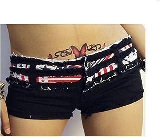 Jieming の夏の女性のデニムのショートパンツ超短女性のセクシーな大きいサイズローウエスト不規則 (Color : Black, Size : M)
