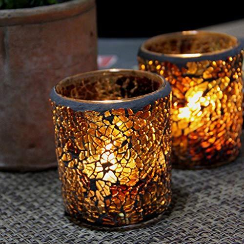 Mobestech Mosaik-Kerzenhalter, bernsteinfarbenes Glas, Duftkerzenhalter, Teelichtbecher, für Valentinstag, Jahrestag, Hochzeit, Party, Tischdekoration
