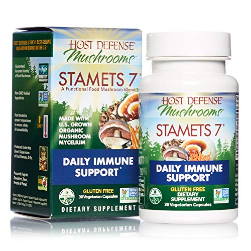 Host Defense, Stamets 7 Capsules, Daily Immune Support, Mushroom Supplement with Lions Mane, Reishi, Vegan, Organic, 30 Capsules (15 Servings)
