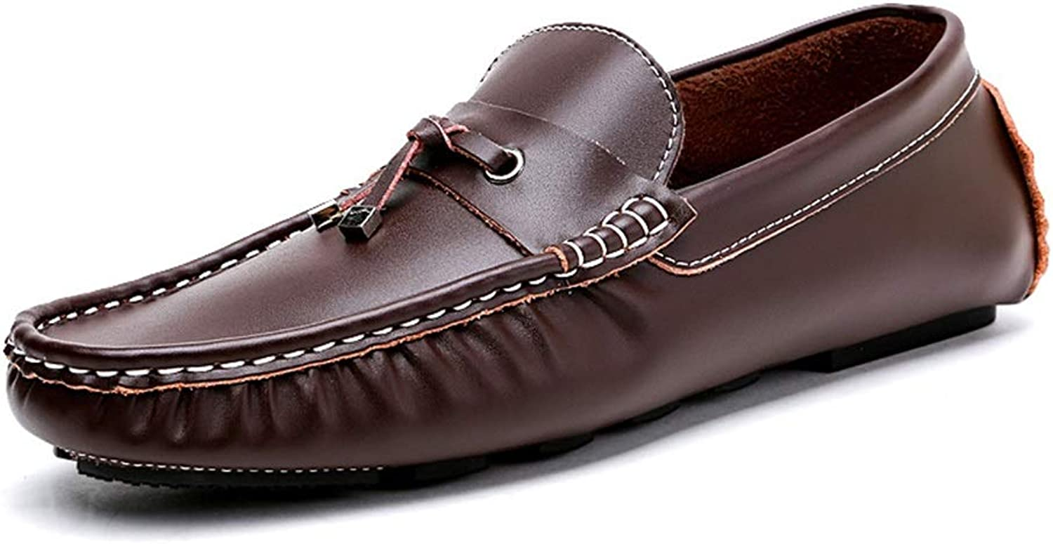 Fashion Driving Loafer for Men Boat Moccasins Slip On Style Genuine Leather Classic Lightweight Flexible Leather Driving shoes for Men Men's Boots (color   Coffee, Size   7.5 UK)