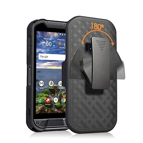 Kompatibel mit Kyocera Duraforce Pro 2 Hülle mit Displayschutz aus gehärtetem Glas, Gürtelclip, Holster Defender Rugged Shock Proof Armor Protection Phone Cover, DuraForce Pro 2, schwarz