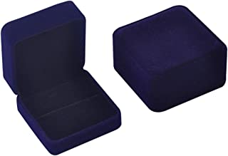 iSuperb Set of 2 Dark Blue Velvet Couple Double Ring Box Earring Jewelry Case Gift Boxes 2.7x2.7x1.6inch