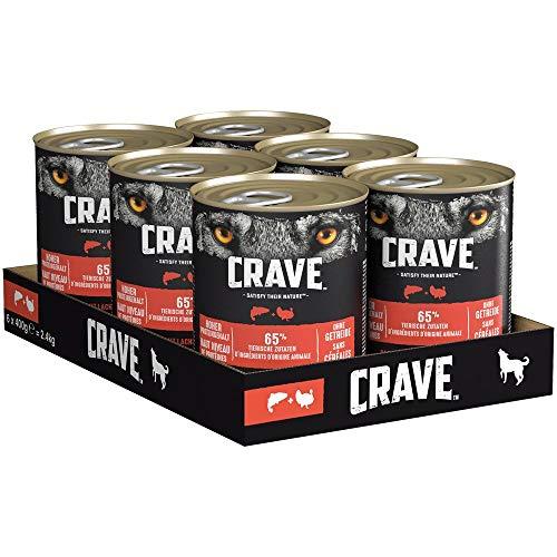 CRAVE Premium Pastete mit Lachs & Truthahn für Hunde – Getreidefreies Adult Nassfutter mit hohem Proteingehalt – Dosen 6 x 400 g