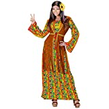 WIDMANN 06895 – Disfraz Hippie Woman, Vestido con Chaleco, Cadena con símbolo de la Paz, Flower Power, Carnaval, Fiesta temática