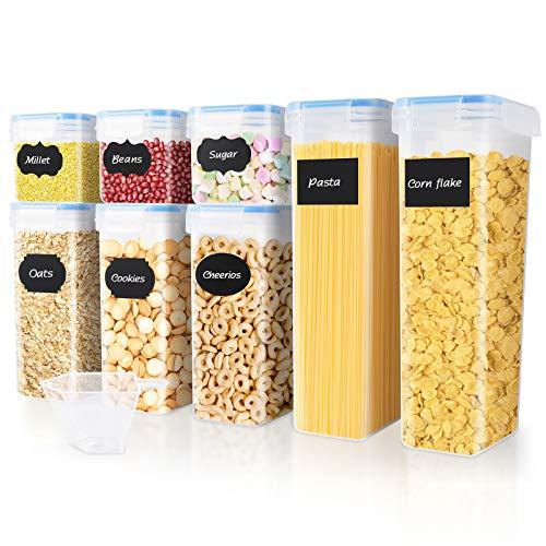 Contenitori Alimentari Set di 8 Contenitori Cucina Ermetici Senza BPA Buon Aiuto per Riporre la Cucina Facile da Pulire Perfetto per Cereali, Avena, Pasta, Cheerios, Noci, ECC
