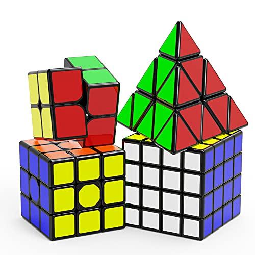 Vdealen Cubos de Velocidad - Original Speed Cube Set de 2x2 3x3 4x4 Pirámide Cube - Liso Rompecabezas de Cubo Mágico para Niños, [4 Pack]