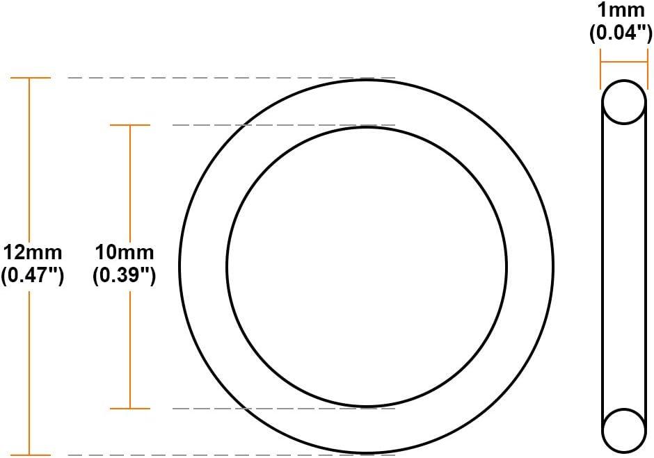 sourcing map 50 St/ück Gummidichtung O-Ringe Fluorkautschuk Braun 1,2 mm x 5 mm x 1,9 mm