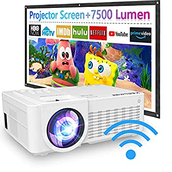 2021 Upgraded 7500Lux WiFi Projector with 100'' Projector Screen Projector for Outdoor Movies 1080P Full HD Supported Mini Portable Projector Compatible with Smartphone HDMI USB AV AUX