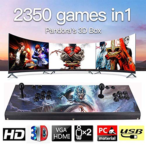 HLLGAME 3D Pandora's Box Máquina de Vídeo Clásica 720P Full HD Real Arcade Video Game Console 3160 Juegos Retro Consola Arcade Video Gamepad Botones Personalizados Lista Inteligente, QA05
