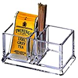 Yakri Clear Acrylic Two Lattices Tea Bags Holder Coffee Sugar Bag Case Guest Room Storage Boxes YTBH-001